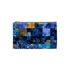 Blue Squares Abstract Background Of Blue And Purple Squares Cosmetic Bag (Small)