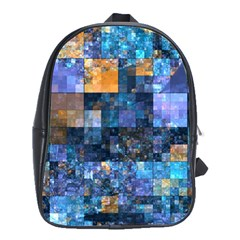 Blue Squares Abstract Background Of Blue And Purple Squares School Bags(Large)