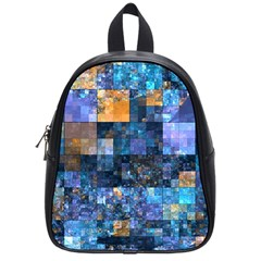 Blue Squares Abstract Background Of Blue And Purple Squares School Bags (Small)