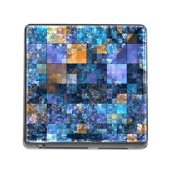 Blue Squares Abstract Background Of Blue And Purple Squares Memory Card Reader (square)