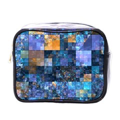 Blue Squares Abstract Background Of Blue And Purple Squares Mini Toiletries Bags