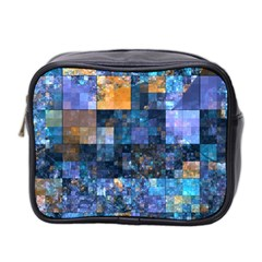 Blue Squares Abstract Background Of Blue And Purple Squares Mini Toiletries Bag 2-Side