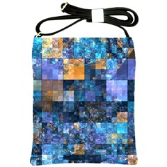 Blue Squares Abstract Background Of Blue And Purple Squares Shoulder Sling Bags