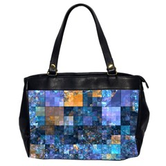 Blue Squares Abstract Background Of Blue And Purple Squares Office Handbags (2 Sides)
