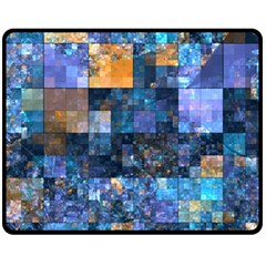 Blue Squares Abstract Background Of Blue And Purple Squares Fleece Blanket (Medium)