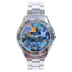 Blue Squares Abstract Background Of Blue And Purple Squares Stainless Steel Analogue Watch