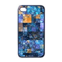 Blue Squares Abstract Background Of Blue And Purple Squares Apple iPhone 4 Case (Black)