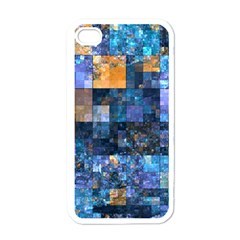 Blue Squares Abstract Background Of Blue And Purple Squares Apple Iphone 4 Case (white)