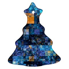 Blue Squares Abstract Background Of Blue And Purple Squares Ornament (christmas Tree)
