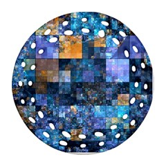 Blue Squares Abstract Background Of Blue And Purple Squares Round Filigree Ornament (Two Sides)