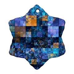 Blue Squares Abstract Background Of Blue And Purple Squares Snowflake Ornament (Two Sides)