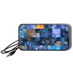 Blue Squares Abstract Background Of Blue And Purple Squares Portable Speaker (black)