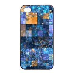 Blue Squares Abstract Background Of Blue And Purple Squares Apple Iphone 4/4s Seamless Case (black)