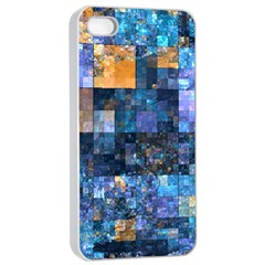 Blue Squares Abstract Background Of Blue And Purple Squares Apple iPhone 4/4s Seamless Case (White)
