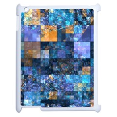 Blue Squares Abstract Background Of Blue And Purple Squares Apple iPad 2 Case (White)