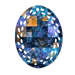 Blue Squares Abstract Background Of Blue And Purple Squares Ornament (Oval Filigree)