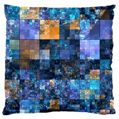 Blue Squares Abstract Background Of Blue And Purple Squares Large Cushion Case (Two Sides)