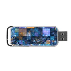 Blue Squares Abstract Background Of Blue And Purple Squares Portable USB Flash (One Side)