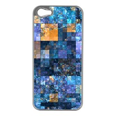 Blue Squares Abstract Background Of Blue And Purple Squares Apple iPhone 5 Case (Silver)
