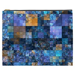 Blue Squares Abstract Background Of Blue And Purple Squares Cosmetic Bag (xxxl)