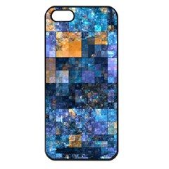 Blue Squares Abstract Background Of Blue And Purple Squares Apple iPhone 5 Seamless Case (Black)