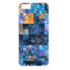 Blue Squares Abstract Background Of Blue And Purple Squares Apple Iphone 5 Seamless Case (white)