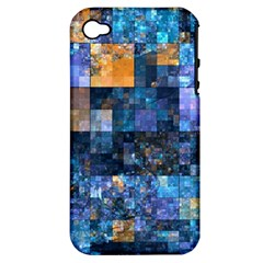 Blue Squares Abstract Background Of Blue And Purple Squares Apple Iphone 4/4s Hardshell Case (pc+silicone)