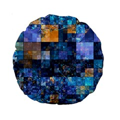 Blue Squares Abstract Background Of Blue And Purple Squares Standard 15  Premium Round Cushions
