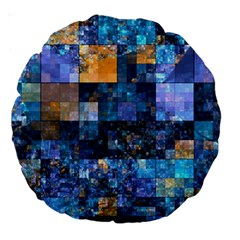 Blue Squares Abstract Background Of Blue And Purple Squares Large 18  Premium Round Cushions