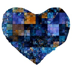 Blue Squares Abstract Background Of Blue And Purple Squares Large 19  Premium Heart Shape Cushions
