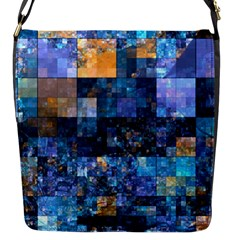 Blue Squares Abstract Background Of Blue And Purple Squares Flap Messenger Bag (s)