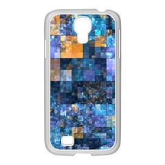 Blue Squares Abstract Background Of Blue And Purple Squares Samsung Galaxy S4 I9500/ I9505 Case (white)
