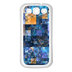 Blue Squares Abstract Background Of Blue And Purple Squares Samsung Galaxy S3 Back Case (White)