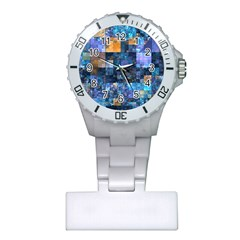 Blue Squares Abstract Background Of Blue And Purple Squares Plastic Nurses Watch