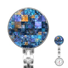 Blue Squares Abstract Background Of Blue And Purple Squares Stainless Steel Nurses Watch