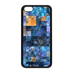 Blue Squares Abstract Background Of Blue And Purple Squares Apple Iphone 5c Seamless Case (black)
