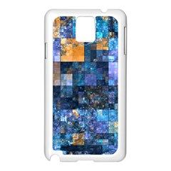 Blue Squares Abstract Background Of Blue And Purple Squares Samsung Galaxy Note 3 N9005 Case (White)