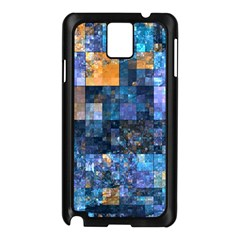 Blue Squares Abstract Background Of Blue And Purple Squares Samsung Galaxy Note 3 N9005 Case (black)