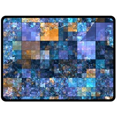 Blue Squares Abstract Background Of Blue And Purple Squares Double Sided Fleece Blanket (Large)