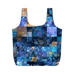 Blue Squares Abstract Background Of Blue And Purple Squares Full Print Recycle Bags (M)
