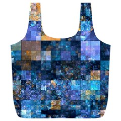 Blue Squares Abstract Background Of Blue And Purple Squares Full Print Recycle Bags (L)
