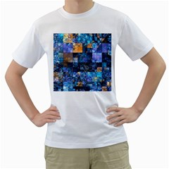 Blue Squares Abstract Background Of Blue And Purple Squares Men s T-Shirt (White)