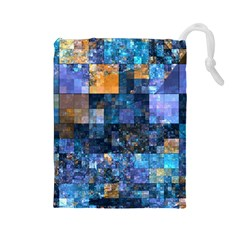 Blue Squares Abstract Background Of Blue And Purple Squares Drawstring Pouches (Large)