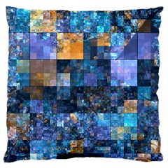 Blue Squares Abstract Background Of Blue And Purple Squares Large Flano Cushion Case (two Sides)