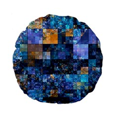 Blue Squares Abstract Background Of Blue And Purple Squares Standard 15  Premium Flano Round Cushions
