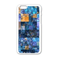 Blue Squares Abstract Background Of Blue And Purple Squares Apple iPhone 6/6S White Enamel Case