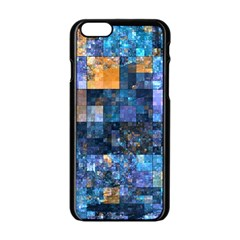 Blue Squares Abstract Background Of Blue And Purple Squares Apple iPhone 6/6S Black Enamel Case