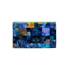Blue Squares Abstract Background Of Blue And Purple Squares Cosmetic Bag (XS)