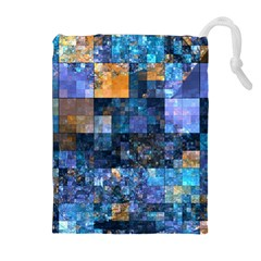 Blue Squares Abstract Background Of Blue And Purple Squares Drawstring Pouches (Extra Large)