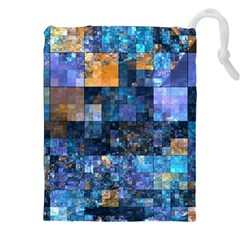Blue Squares Abstract Background Of Blue And Purple Squares Drawstring Pouches (XXL)